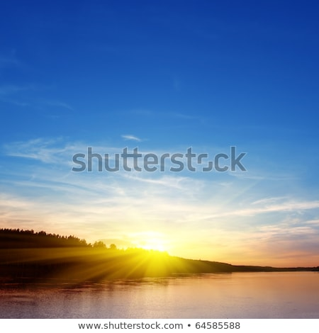 Soleil nuages distant lac couteau frontière Photo stock © wildnerdpix