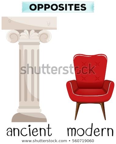 Oude moderne tegenover woord illustratie business Stockfoto © bluering