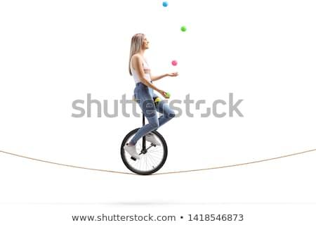 Lány zsonglőrködés fehér illusztráció gyerekek boldog Stock fotó © bluering