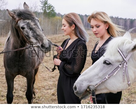 Two Girls and a Horse Stock photo © 2tun