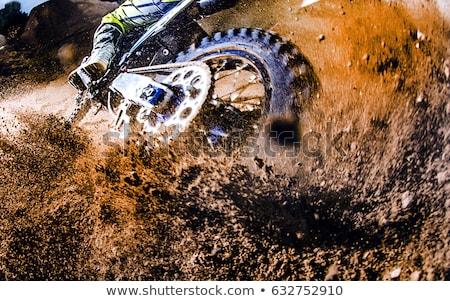 kampioenschap · motorcross · zijaanzicht · rijden · motorfiets · vertragen - stockfoto © tarczas