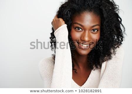 Retrato bela mulher suéter longo cabelo castanho sessão Foto stock © deandrobot