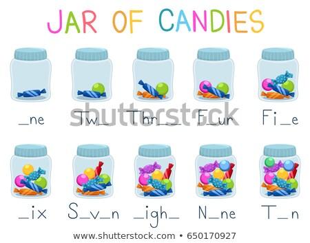 Enseignement matériaux bonbons jar activité illustration Photo stock © lenm