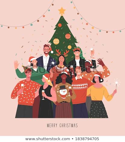 people friend group hug in christmas banner stock photo © cienpies