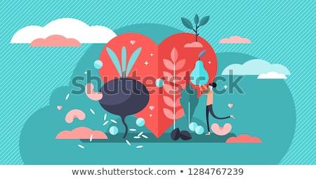 愛 完全菜食主義者の 食品 実例 健康食 グリーティングカード ストックフォト © cienpies