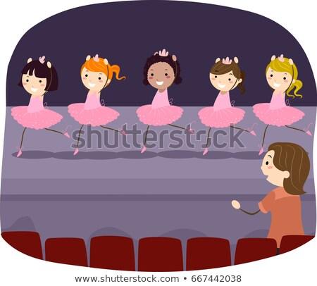 Stickman Kids Girls Ballet Dress Rehearsal Stock photo © lenm