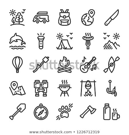 Vreugdevuur icon witte web mobiele toepassingen Stockfoto © smoki