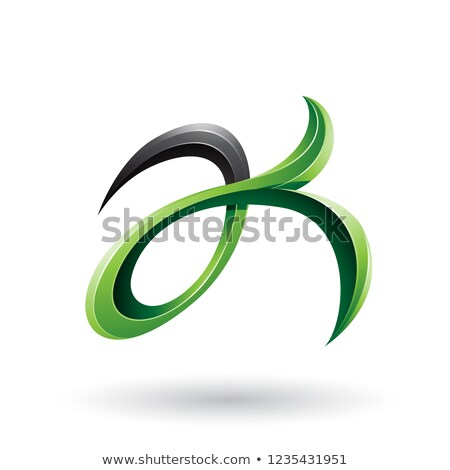 Green and Black Curly Fish Tail Like Letters A and K Vector Illu Stock photo © cidepix