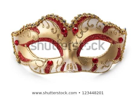 Geel witte carnaval masker Rood top Stockfoto © Illia