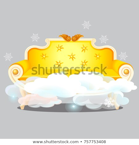 Vintage golden sofa with clouds isolated on grey background. The highest degree of comfort. Vector c Stock photo © Lady-Luck