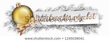 Stock photo: Paper Banner Christmas Golden Bauble Twigs Weihnachtsangebot