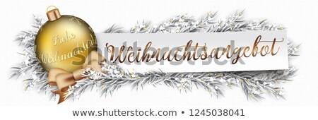 paper banner christmas golden bauble twigs weihnachtsangebot stock photo © limbi007