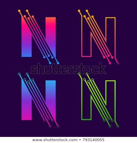 Stock photo: letter n colorful circles logo icon vector