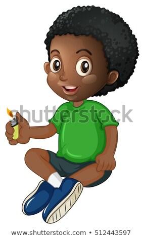 Küçük erkek oynama çakmak örnek çocuk Stok fotoğraf © colematt