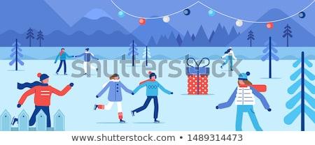 Jég pálya tél park emberek korcsolyázás Stock fotó © robuart