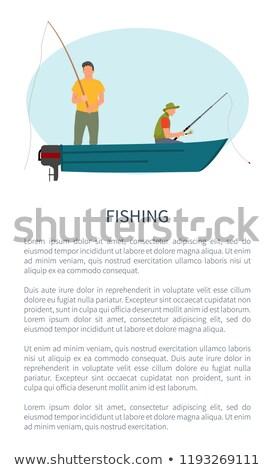 Rzeki jezioro połowów motorówka wektora plakat Zdjęcia stock © robuart