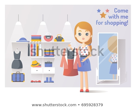 shopping women shoes shop and hat stores vector stock photo © robuart