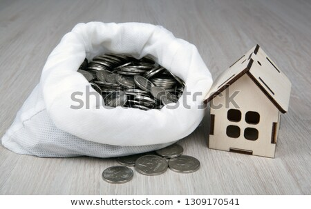 wooden miniature house with Russian ruble coins in the white bag Stock photo © mizar_21984