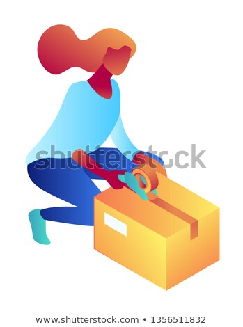 Businesswoman packing cardboard box isometric 3D illustration. Stock photo © RAStudio