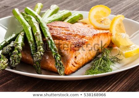 鮭 アスパラガス 生 緑 プレート 食品 ストックフォト © tycoon