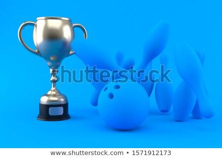 銀 ボーリング トロフィー 白 カップ ピン ストックフォト © magraphics