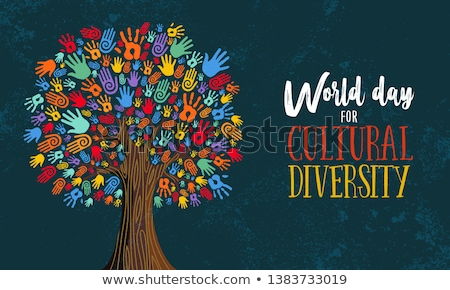 Cultural Diversity Day card of human hand tree Stock photo © cienpies