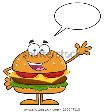 happy hamburger cartoon character waving with speech bubble stock photo © hittoon
