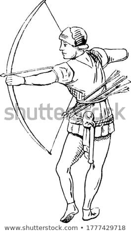 Ilustracja łucznik sportu sylwetka broń łuk Zdjęcia stock © adrenalina
