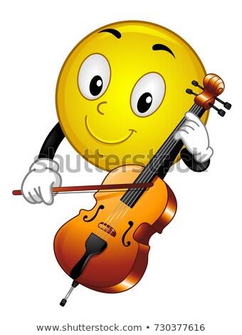 Maskot viyolonsel örnek oynama enstrüman Stok fotoğraf © lenm