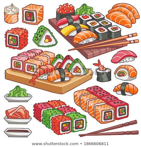 Vector sushi color sticker, Futomaki roll Stock photo © netkov1