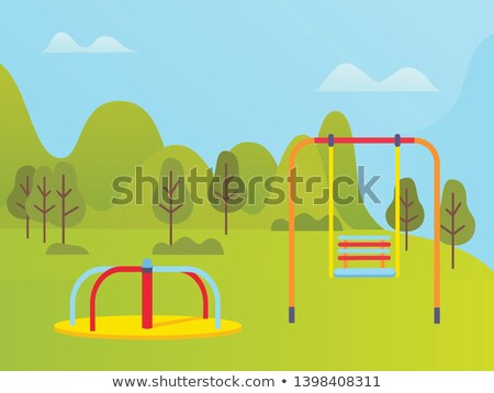 Playground near Green Trees and Mountains Vector Stock photo © robuart