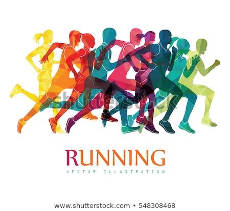 running marathon people run colorful poster stock photo © marish