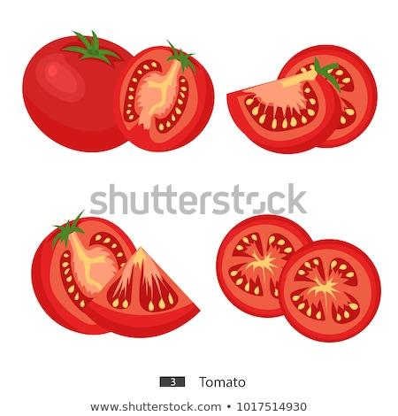 Half tomaat illustratie vector ontwerp witte Stockfoto © netkov1