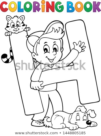 coloring book boy and pets by letter h stock photo © clairev