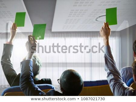 Geschäftsleute halten grünen Karten Konferenz Fenster Stock foto © wavebreak_media