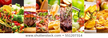 Food collage. Different healthy dishes Stock photo © furmanphoto