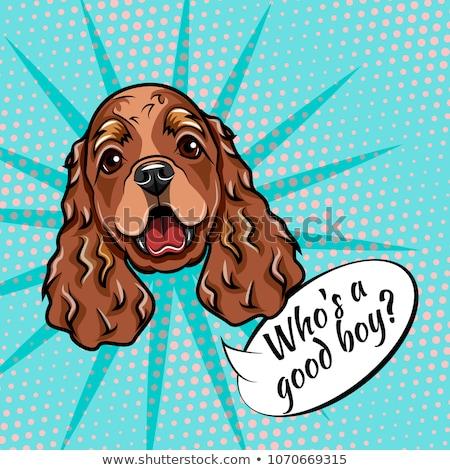 English Cocker Spaniel Dog Breed Cartoon Retro Drawing Stock photo © patrimonio
