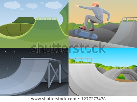 Fille équitation skateboard parc cartoon bannière Photo stock © robuart
