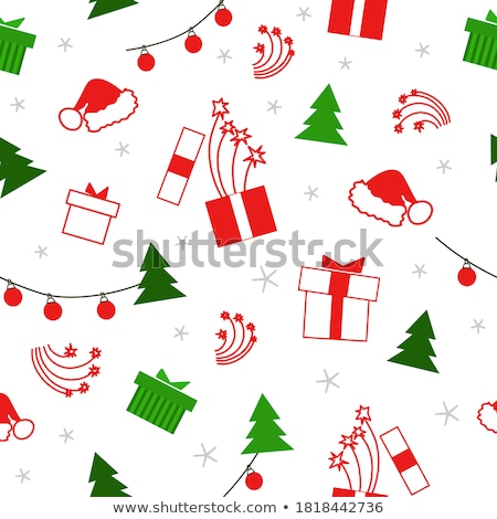 Stock photo: Christmas seamless pattern with holiday toys and symbols in flat