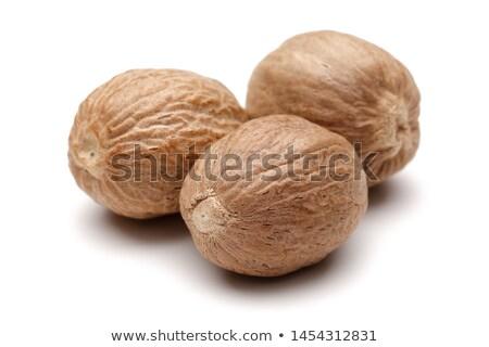 Suszy gałka muszkatołowa nasion ciemne szary Zdjęcia stock © nito