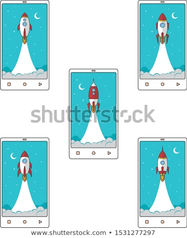 Telefone móvel foguete intensificador vetor conjunto coleção Foto stock © vector1st