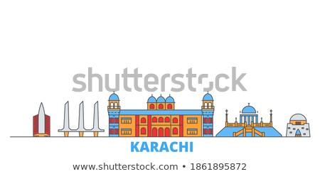 Outline Karachi Skyline with Blue Landmarks. Stock photo © ShustrikS