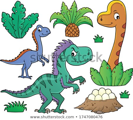 Dinosaurs and prehistoric nature theme set 1 Stock photo © clairev