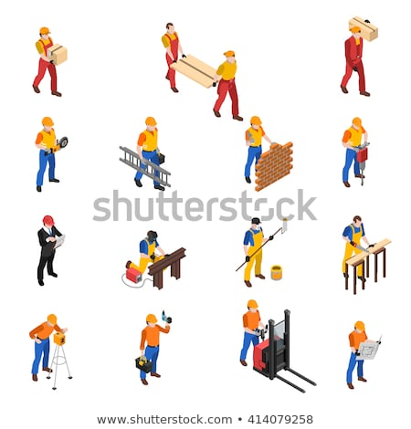 Plumber Profession Isometric Icons Set Vector Stock photo © pikepicture