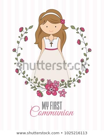 Foto stock: Comunhão · meninas · vestido · branco · dia · primeira · comunhão · menina
