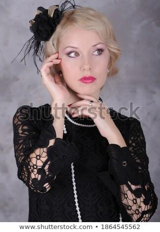 gyönyörű · retro · stilizált · fotó · csinos · nő · nem - stock fotó © nessokv