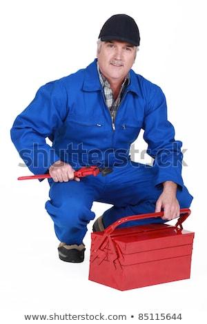 Senior artesão chave inglesa caixa de ferramentas azul Foto stock © photography33