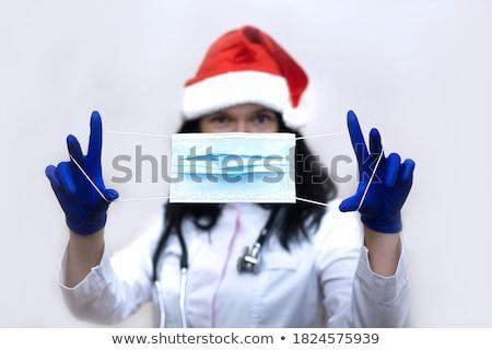 kadın · noel · baba · şapka · güzel · bir · kadın · teklif - stok fotoğraf © feedough