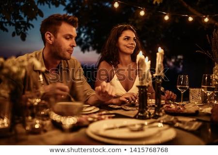 Pár ital nő bor pezsgő fogak Stock fotó © photography33