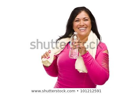 ispanico · donna · allenamento · vestiti · acqua · asciugamano - foto d'archivio © feverpitch